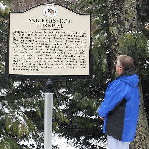 Snickersville Turnpike historic marker -- at northwest end