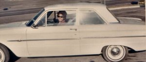 Marie in her first car-a 1963 Ford Falcon